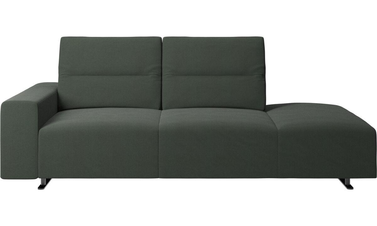 Sofás com canto aberto - Sofá Hampton com encosto ajustável e lado direito da unidade de descanso, braço à esquerda - Verde - Tecido