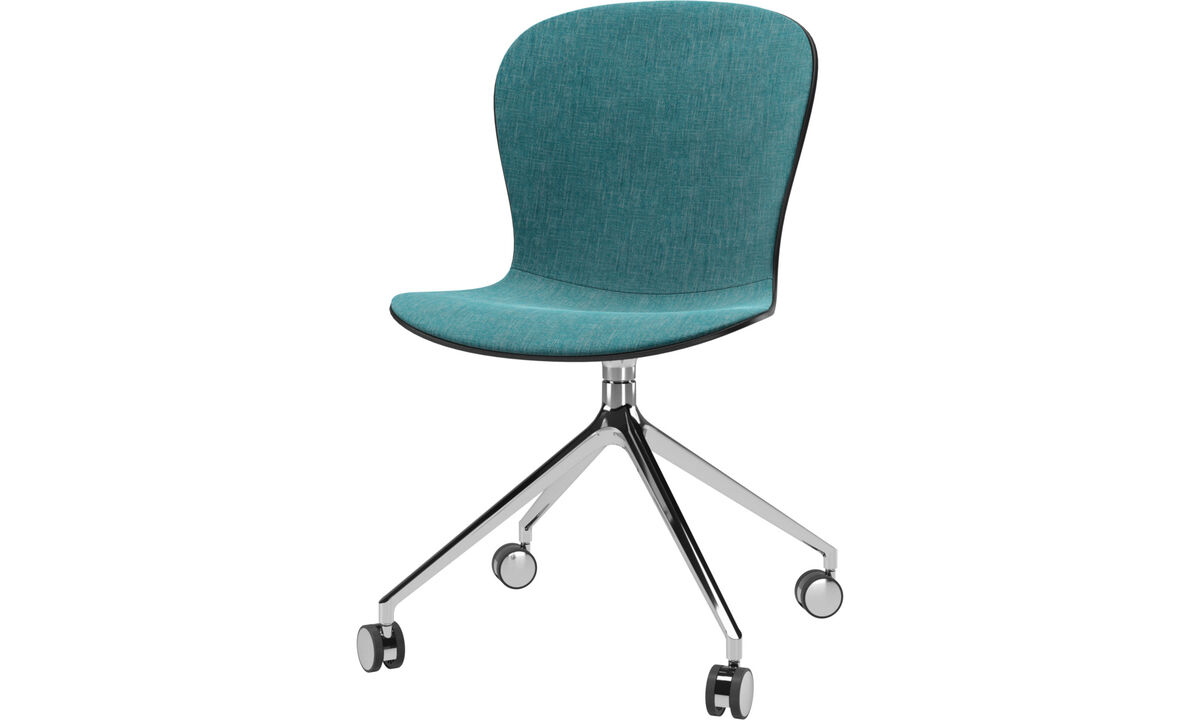 Dining Chairs Singapore - Adelaide chair with swivel function and wheels - Blue - Fabric