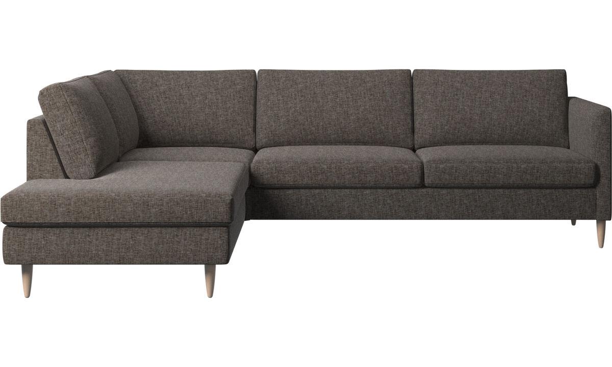 Corner & L-Shaped Sofa - Indivi corner sofa with lounging unit - Brown - Fabric