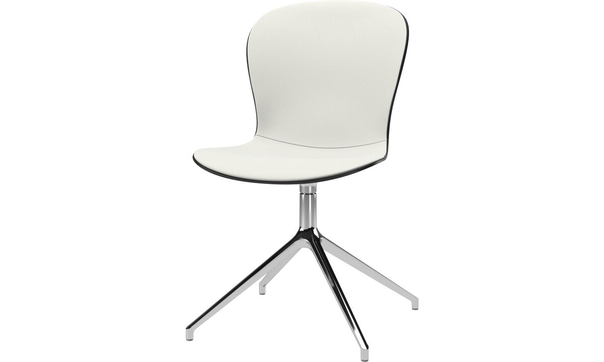 Dining chairs - Adelaide chair with swivel function - White - Leather