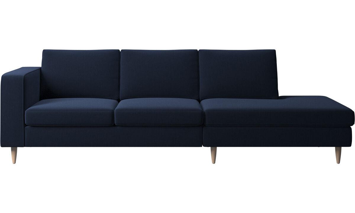 Sofas with open end - Indivi divano con lounge - Blu - Tessuto
