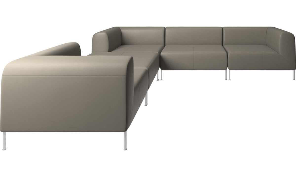 Corner sofas - Miami corner sofa with footstool on left side - Grey - Leather
