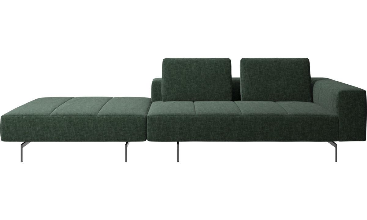 Canapés 3 places - Canapé Amsterdam avec pouf sur la gauche - Vert - Tissu