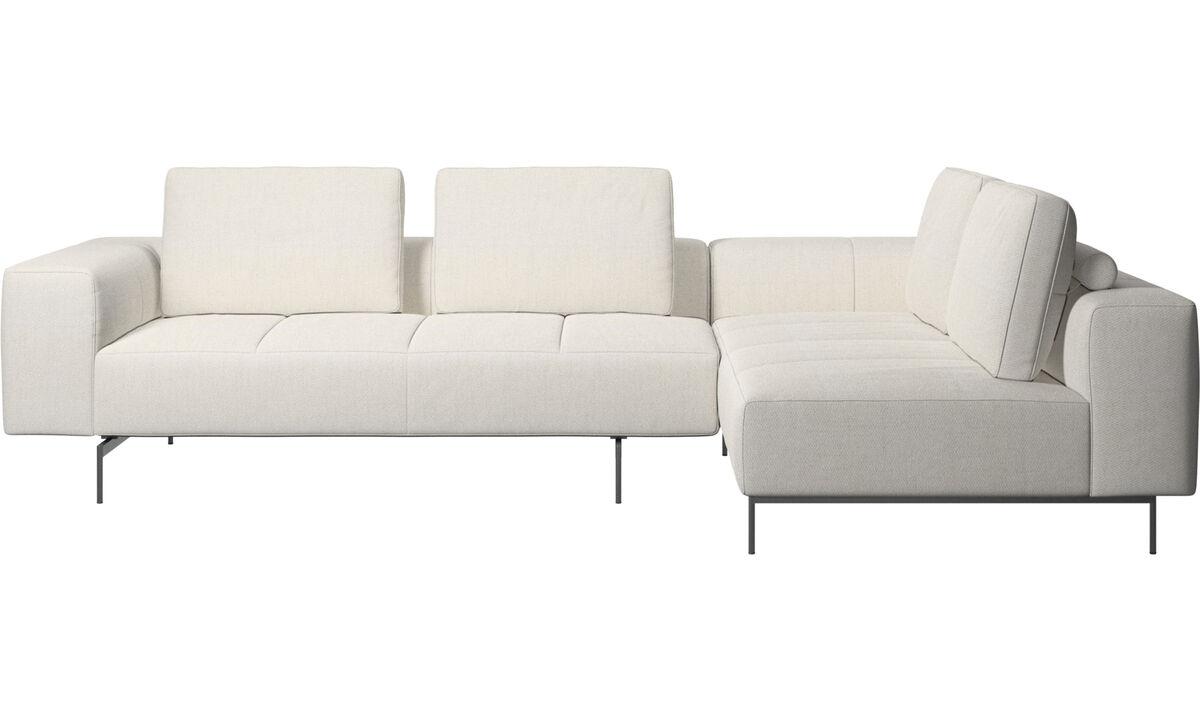Modular sofas - Amsterdam corner sofa with lounging unit - White - Fabric