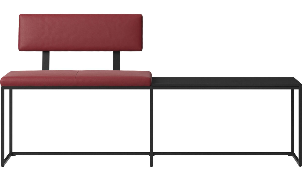 Benches - London large bench with cushion, shelf and backrest - Red - Leather