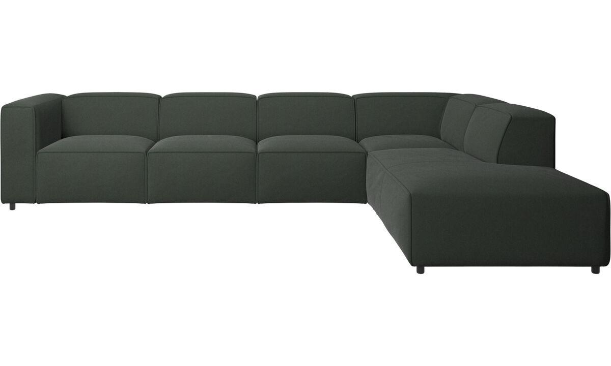 Sofás con lado abierto - sofá esquinero Carmo con módulo de descanso - En verde - Tela