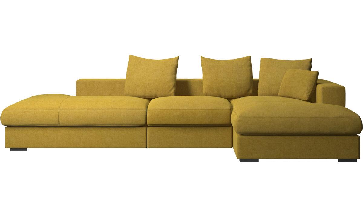 Sofás con lado abierto - Sofá Cenova con módulos de descanso y chaise-longue - En amarillo - Tela