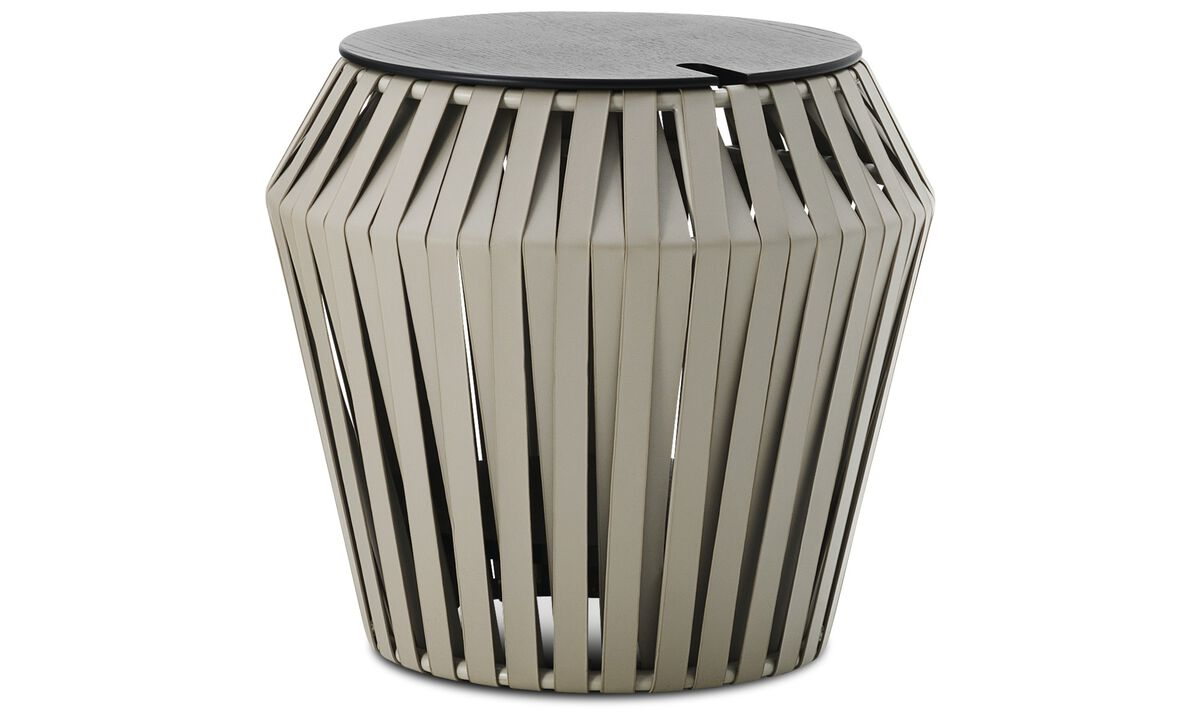 New designs - Valencia side table - round - Grey - Bonded leather