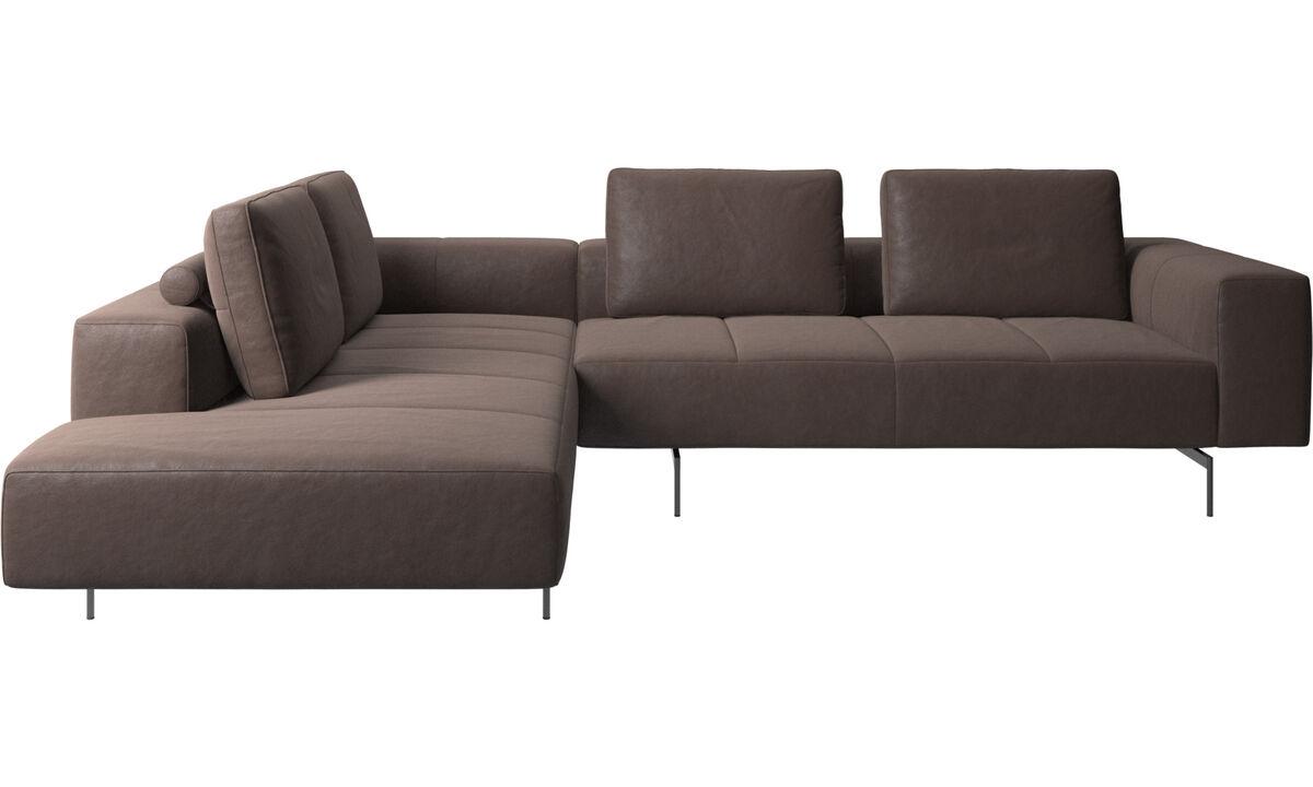 Sofás de canto - sofá de canto Amsterdam com módulo de descanso - Castanho - Pele