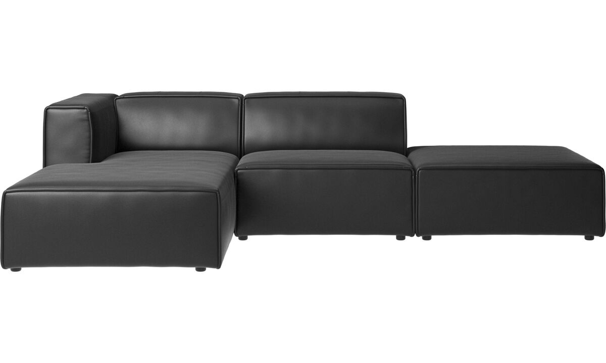 Chaise longue sofas - Carmo sofa with lounging and resting unit - Black - Leather