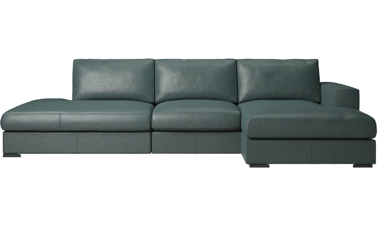 3 seater sofas - Cenova sofa with lounging and resting unit - Green - Fabric