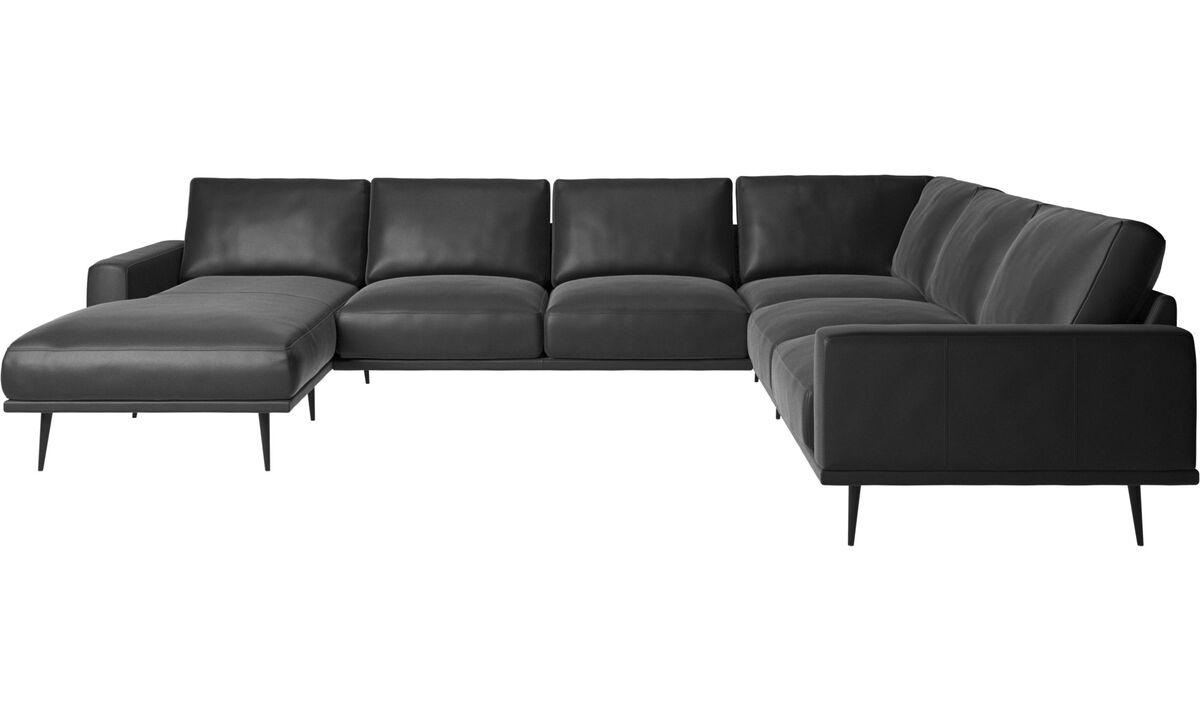 Sofás de canto - sofá de canto Carlton com módulo chaise-longue - Preto - Pele