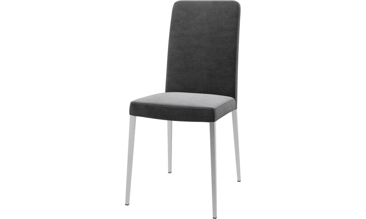 Chaises de salle à manger - chaise Nico - Gris - Tissu