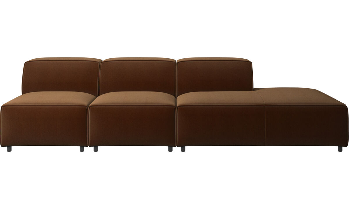 Sofás con lado abierto - sofá Carmo con módulo de descanso - En marrón - Tela