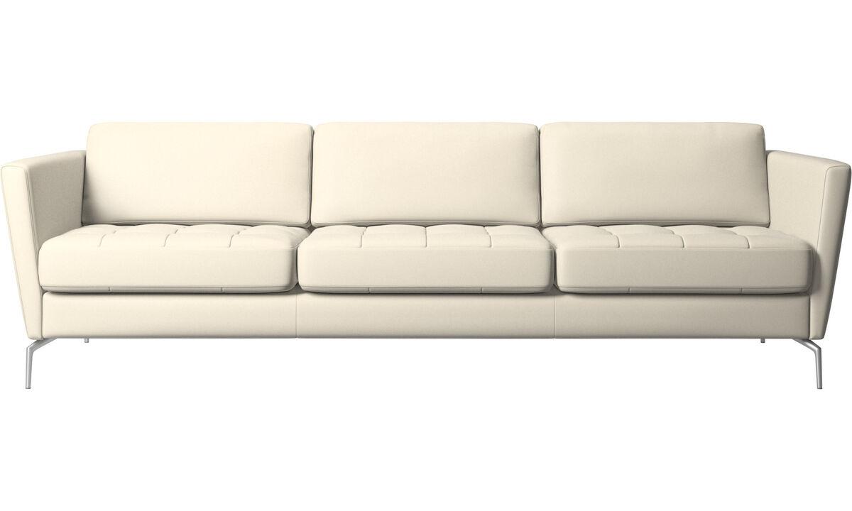 3-sitzer Sofas - Osaka Sofa, getuftete Sitzfläche - Weiß - Leder