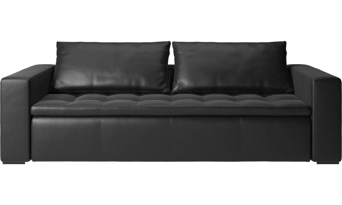 Sofás de 3 plazas - Sofá Mezzo - En negro - Piel