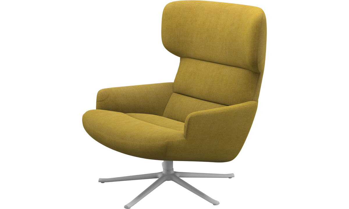 Armchairs - Trento chair with swivel function - Yellow - Fabric