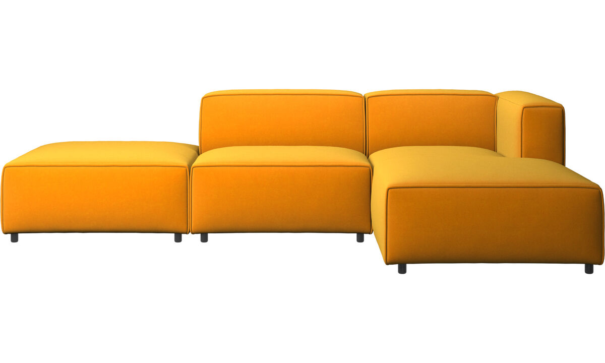 Sofás con chaise longue - sofá Carmo con módulo chaise-longue - Naranja - Tela
