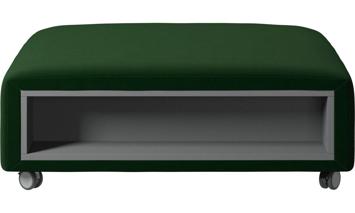 Пуфики - пуф Hampton на колесах с системой хранения, левая и правая стороны - Зеленый - Tкань
