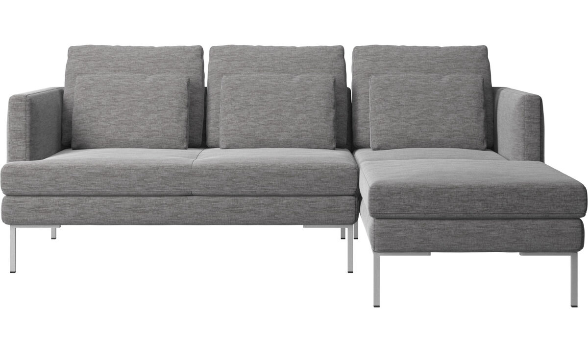 Chaise lounge sofas - Istra 2 sofa with resting unit - Grey - Fabric
