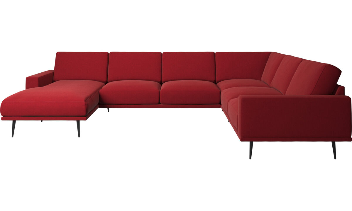 Chaise lounge sofas - Carlton corner sofa with resting unit - Red - Fabric
