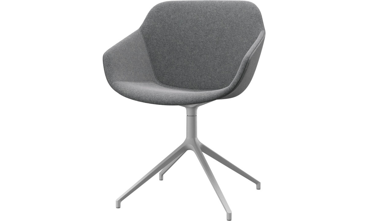 Dining chairs - Vienna chair with swivel function - Grey - Fabric