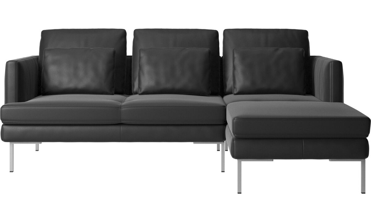 Chaise lounge sofas - Istra 2 sofa with resting unit - Black - Leather