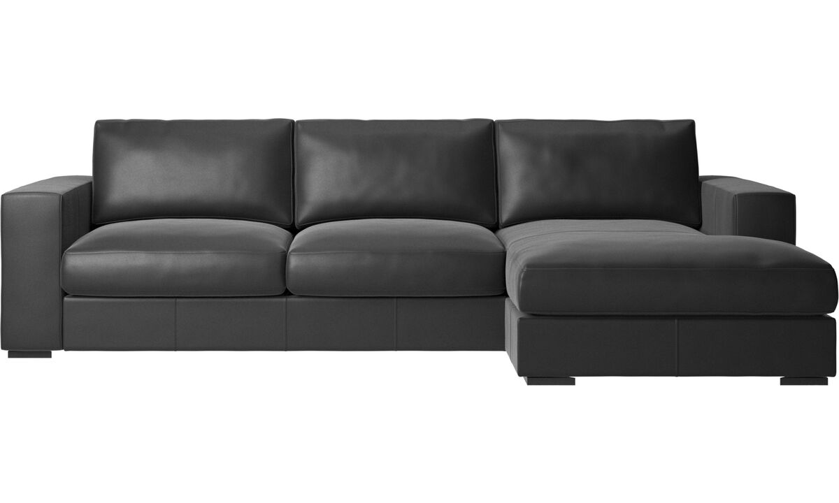 New designs - Cenova sofa with resting unit - Black - Leather