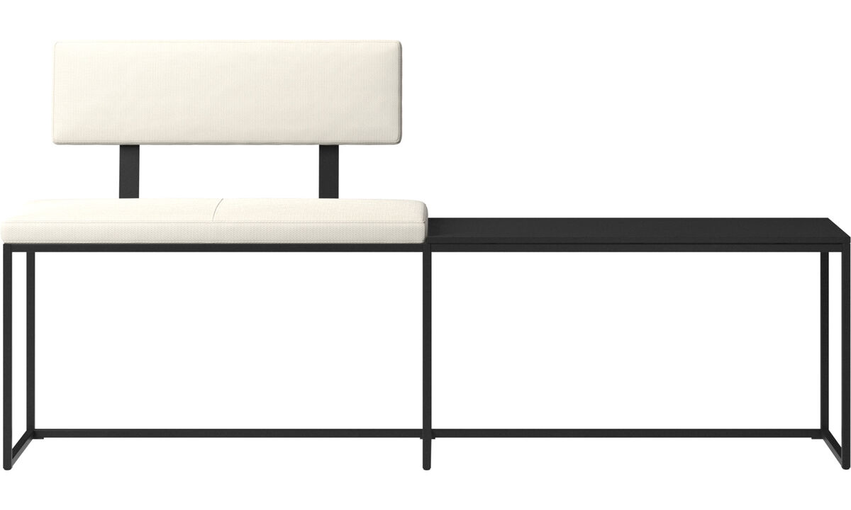Benches - London large bench with cushion, shelf and backrest - White - Fabric