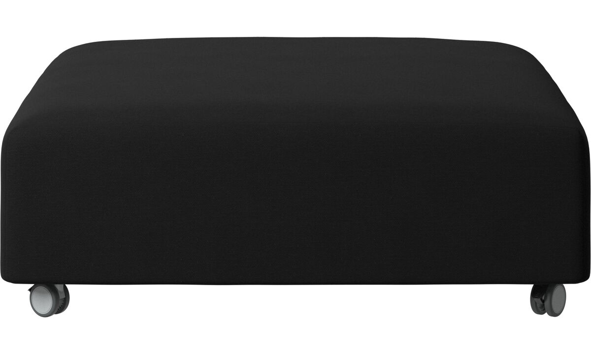 Footstools - Hampton pouf on wheels - Black - Fabric