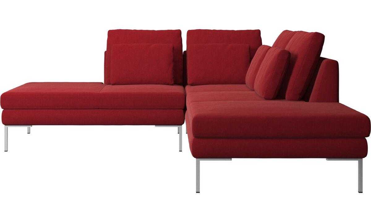 Sofás com canto aberto - Sofá Istra 2 com módulo de descanso - Vermelho - Tecido