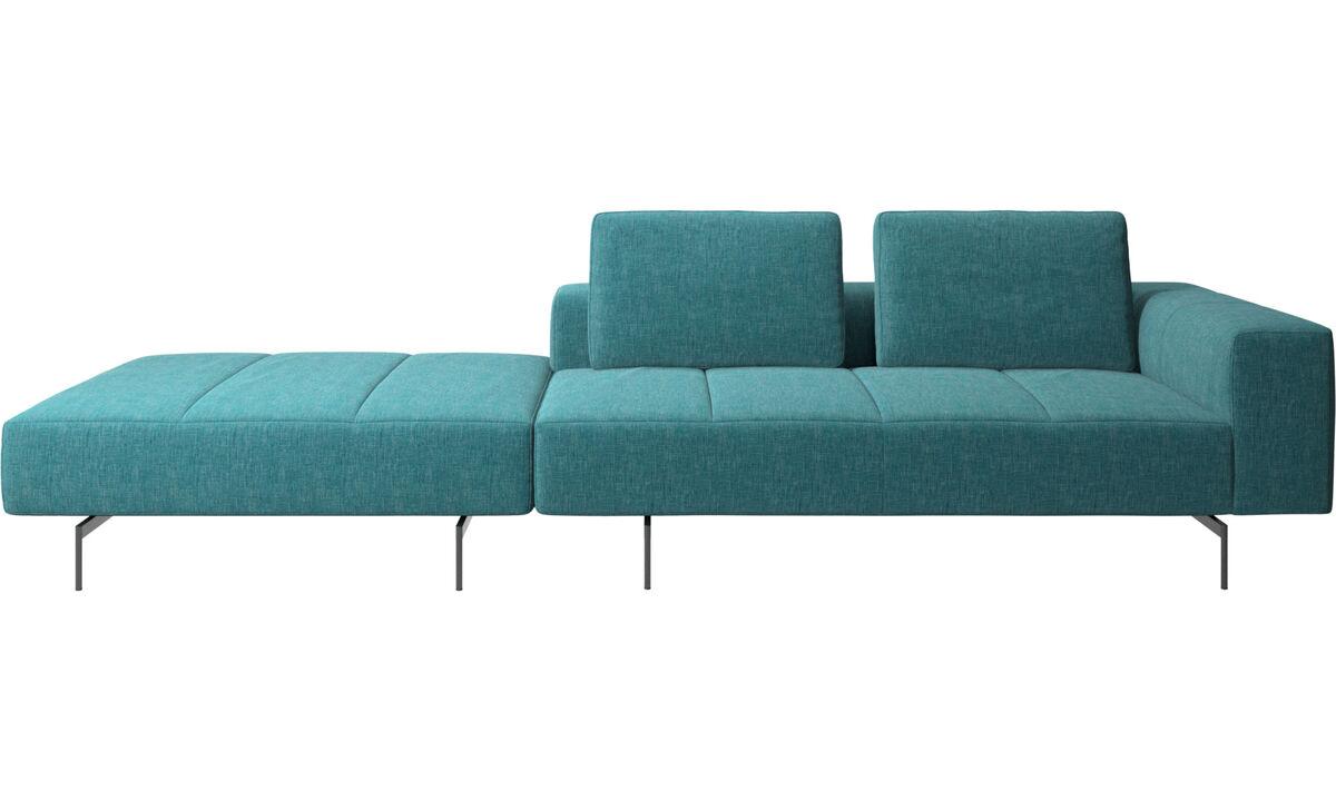 Canapés 3 places - Canapé Amsterdam avec pouf sur la gauche - Bleu - Tissu