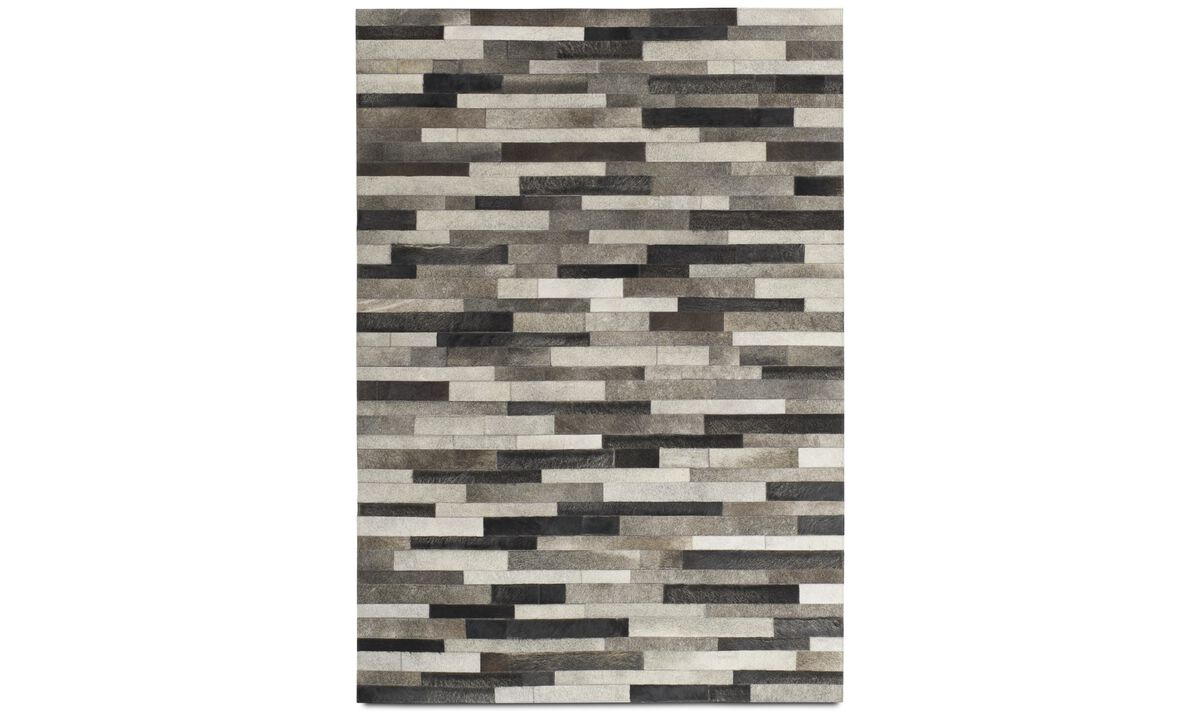 Leather rugs - Slate rug - rectangular - Grey - Leather