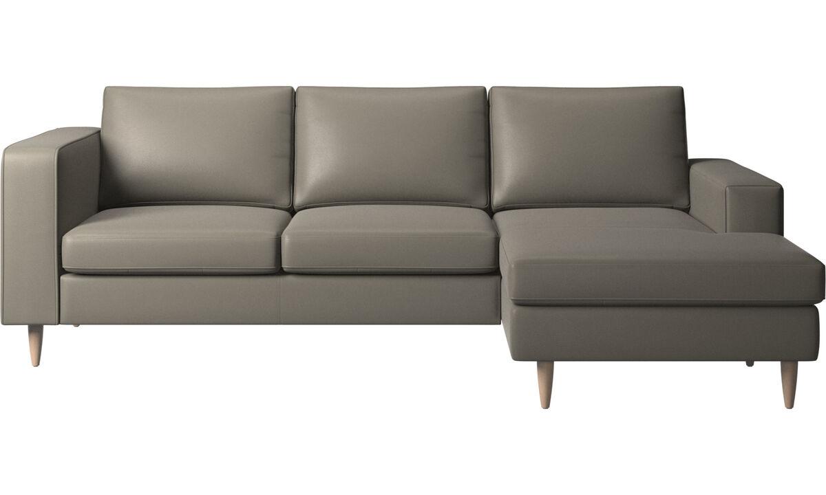 Canapés avec chaise longue - canapé Indivi avec chaise longue - Gris - Cuir