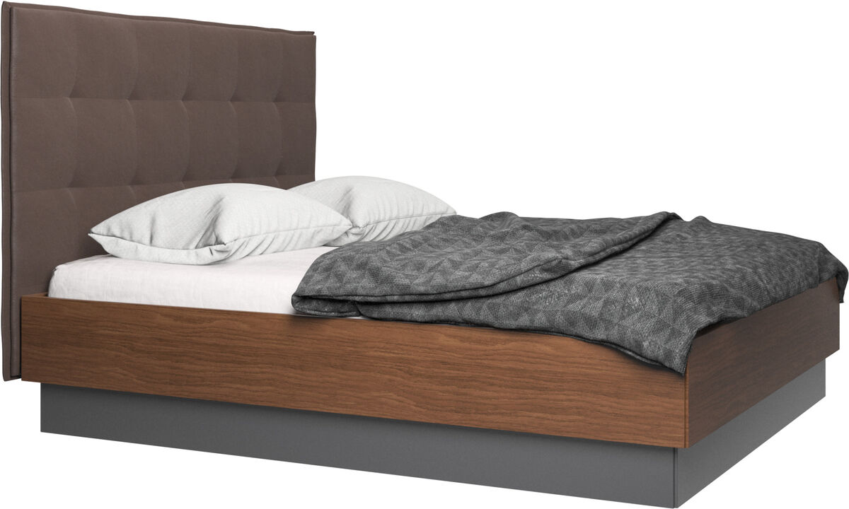 New beds - Lugano storage bed with lift-up frame and slats, excl. mattress - Brown - Leather