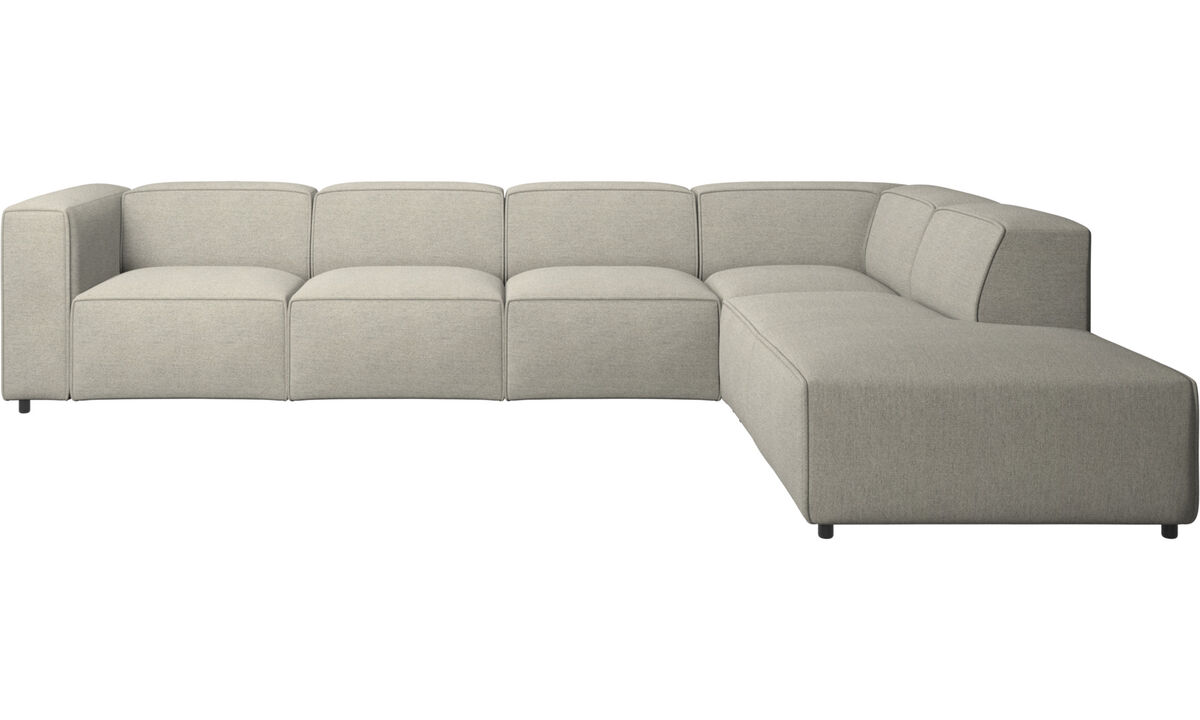 Sofas with open end - Carmo corner sofa with lounging unit - Beige - Fabric