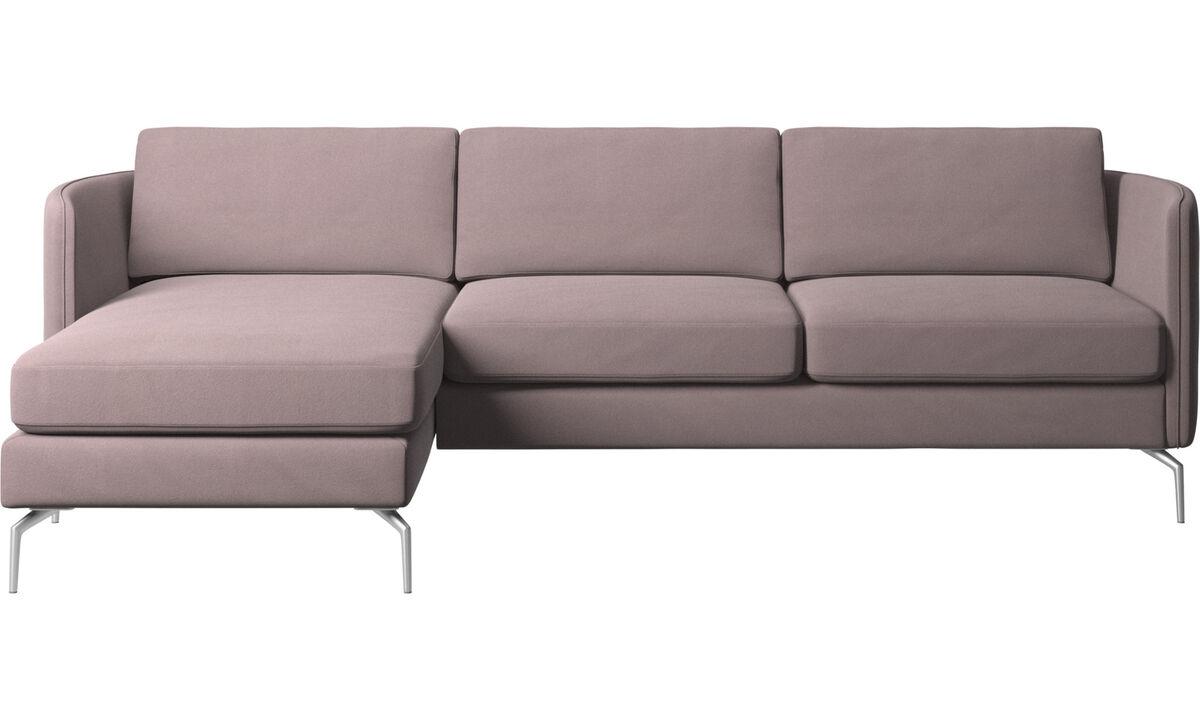 Sofás com chaise - Sofá Osaka com módulo chaise-longue, assento regular - Roxo - Tecido