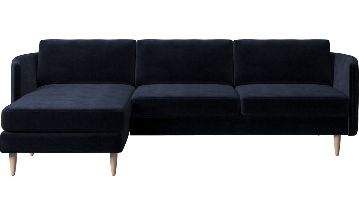 Chaise lounge sofas - Osaka sofa with resting unit, regular seat - Blue - Fabric