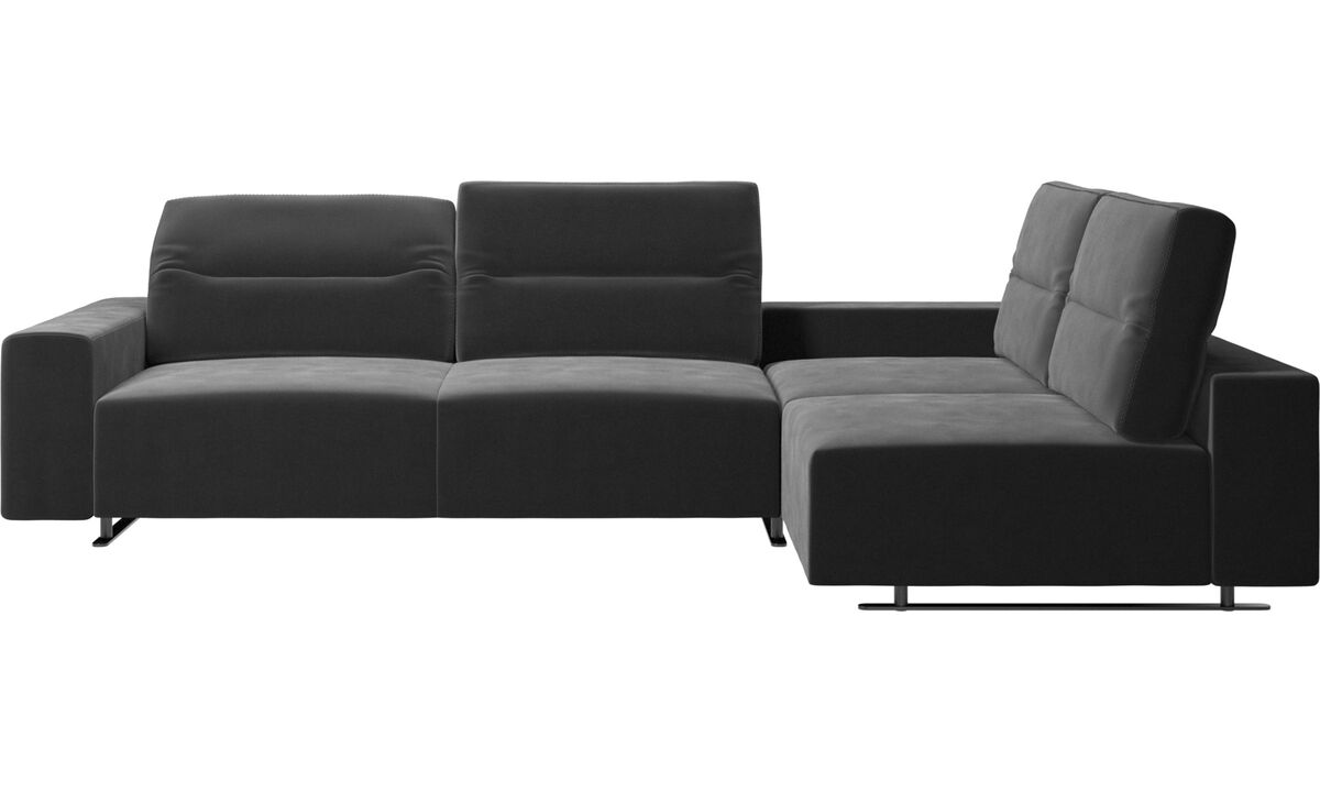 Corner sofas - Hampton corner sofa with adjustable back and storage on left side - Black - Fabric