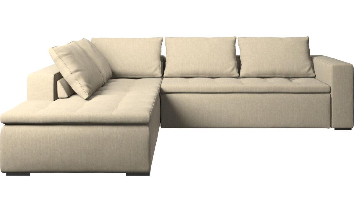 Corner sofas - Mezzo corner sofa with lounging unit - Brown - Fabric