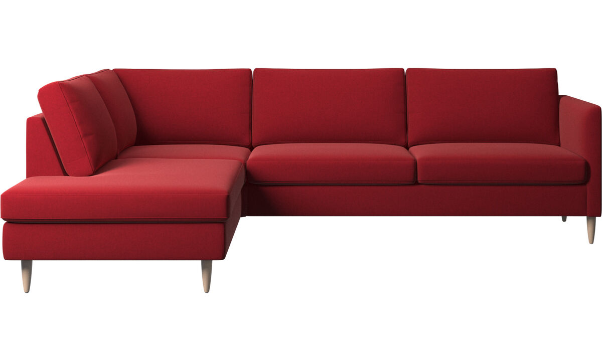 Sofas with open end - Indivi corner sofa with lounging unit - Red - Fabric
