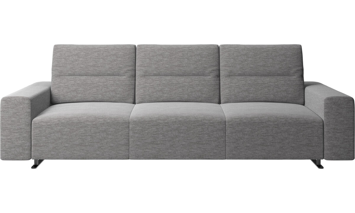 Sofás de 3 lugares - Sofá Hampton com encosto ajustável - Cinza - Tecido