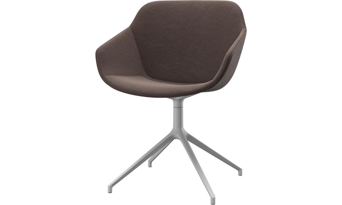 Обеденные стулья - Cтул Vienna с функцией вращения - Коричневого цвета - Кожа