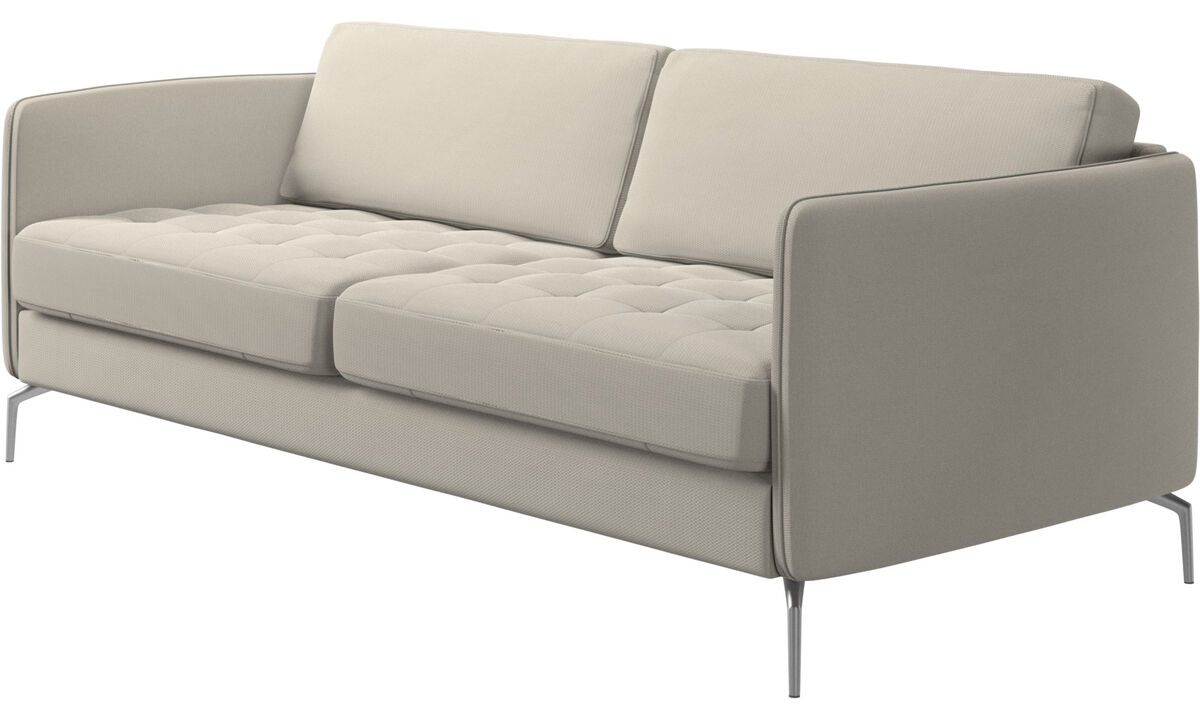 2.5 seater sofas - Osaka sofa, tufted seat - White - Fabric