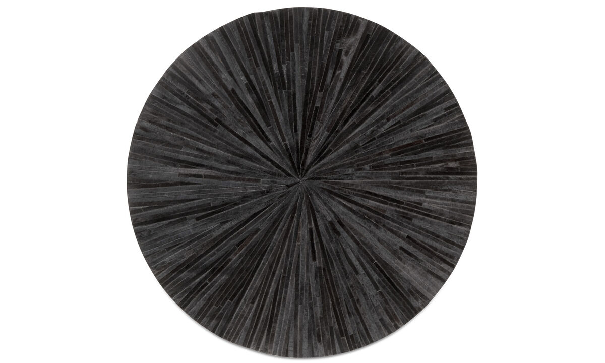 Leather rugs - Tappeto Dimas - rotonda - Nero - Pelle