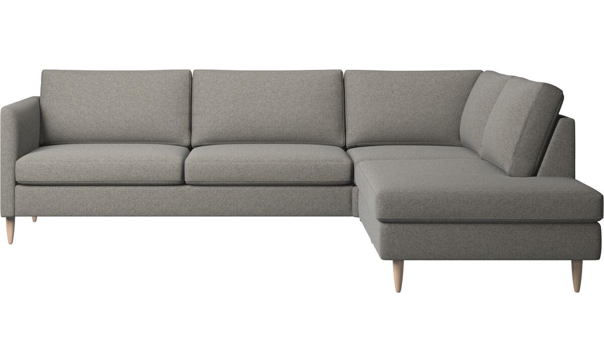 Canapés d'angle - canapé d'angle Indivi avec méridienne - Noir - Tissu