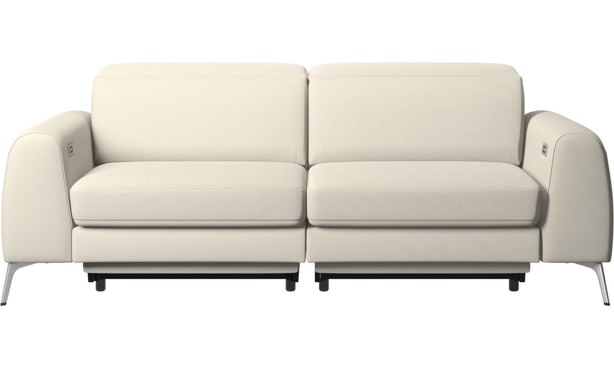 3 seater sofas - Madison sofa with electric seat, head and foot rest motion (transformer and cable plug-in included) - White - Fabric