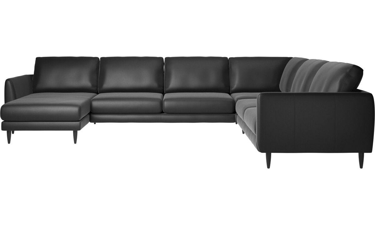 Chaise lounge sofas - Fargo corner sofa - Black - Leather