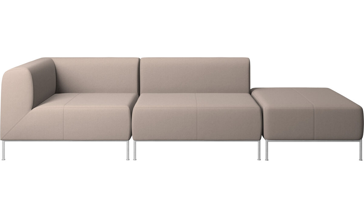Modular sofas - Miami sofa with footstool on right side - Grey - Leather