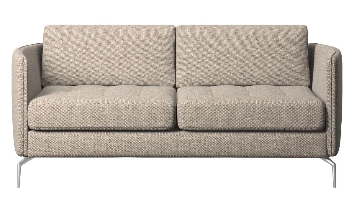 Sofás de 2 plazas - sofá Osaka, asiento capitoné - En beige - Tela